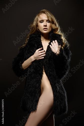Fotobehang Akt coat on naked body