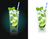 Mojito Glass With Pipe. Alcoho...