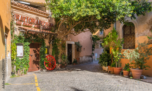 obraz lub plakat The pictiresque Rione Trastevere on a summer morning, in Rome, Italy.