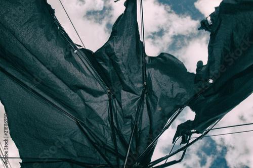 In de dag Kamperen Shabby black umbrella.