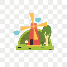 Windmill Vector Icon Isolated On Transparent Background, Windmill Logo Design