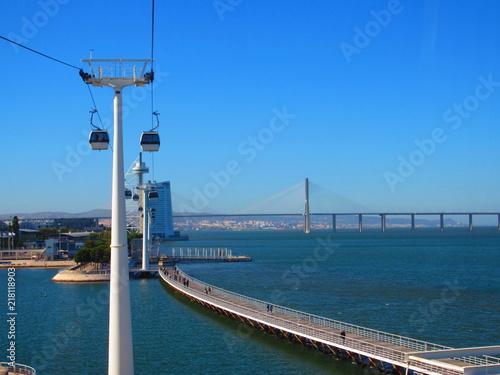 Fototapeta premium Kolejka linowa w Lizbonie na terenie Światowego Parku Wystawowego Narodów