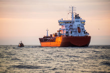 Cargo Ship In The Baltic Sea At Sunset, Close-up, Latvia