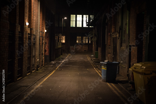 Dark alley at night Canvas Print
