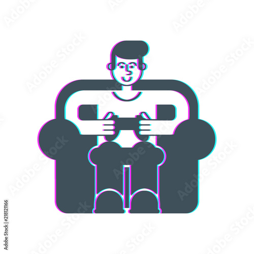 Gamer on chair Glitch Effect Poster