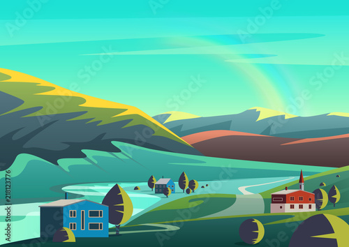 Fotobehang Groene koraal Colorful vector cartoon illustration landscape with few houses town placed on lands of remote valley with mountains and blue sky with rainbow.