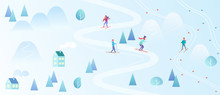 Ski Resort With Skiers. Mountain Skiing Map Style Background. Winter Village Houses Resort With People. Vector Gradient Color Vector Illustration.