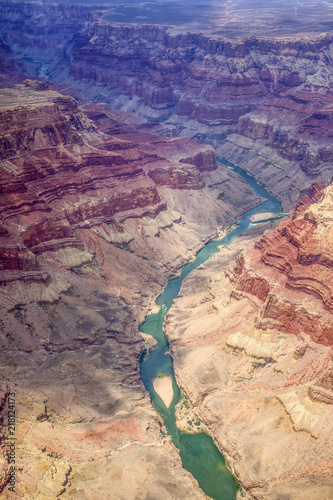 Grand Canyon from plane view. Aerial view of Grand Canyon National Park in Arizona.