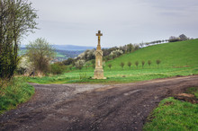 Wayside Cross On A Hills Above...