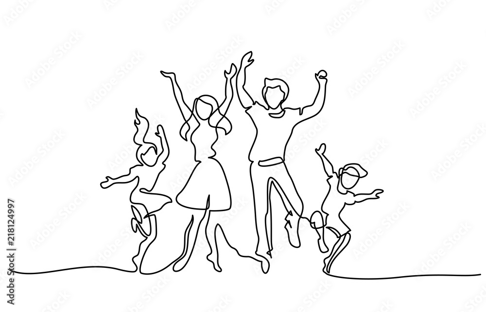 Fototapeta Continuous one line drawing. Happy family mother and father dancing with children. Vector illustration. Concept for logo, card, banner, poster, flyer