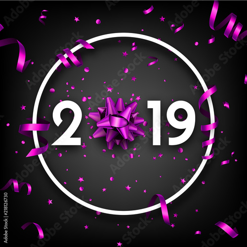 black 2019 happy new year card with purple bow and serpentine
