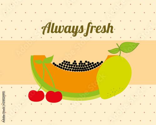 Fotografie, Obraz  always fresh nature nutrition fruits papaya lemon and cherry