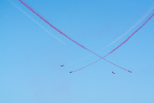 Toulon Rade, FRANCE - August 15, 2018: Patrouille De France Aerobatics Team, Famous Demonstration Of French Air Force, Alpha Jets Of Patrouille De France In Full Formation.