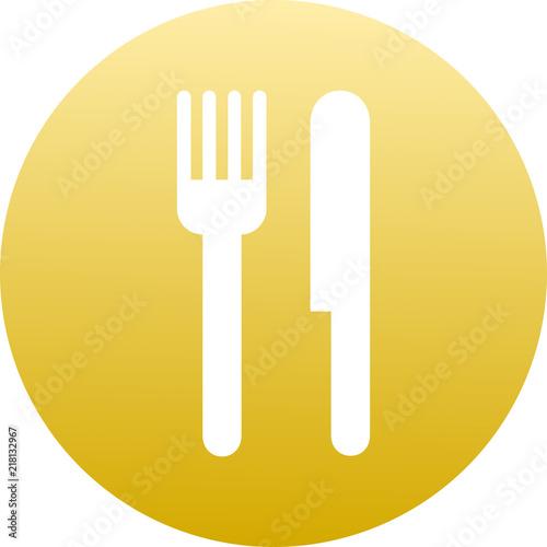 Valokuva  Vector ilustración icono rosa para comercios y web con dibujo de cuchillo y tene
