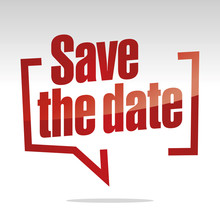 Save The Date In Brackets Speech Red White Isolated Sticker Icon