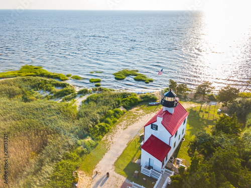 Aerial Drone image of the East Point Lighthouse on the Maurice River entrance to Canvas Print