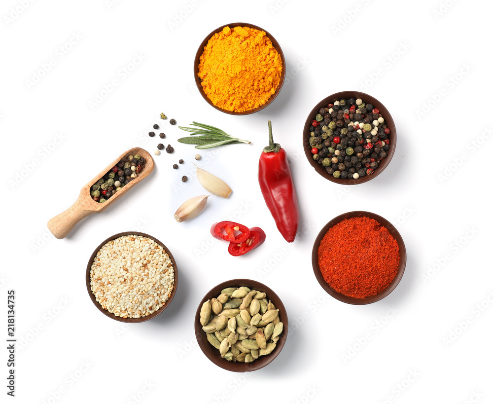 Fototapety, obrazy: Composition with different aromatic spices on white background, top view