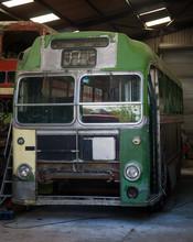 Vintage Retro Green Bus In Garage