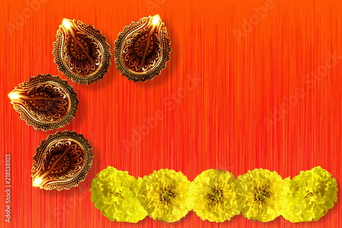 diya lamp for indian hindu religious concept background for ganesh puja diwali new year or pongal