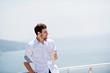 healthy businessman on business travel enjoying