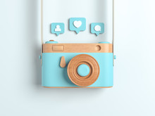Vintage Blue Wooden Photo Camera With Pin Heart, Friends, Comment, Post. Overhead View Of Traveler's Accessories, Flat Lay Photography Of Travel Concept. White Isolated Background. 3d Render