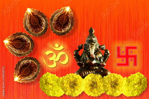 Photo  indian hindu god ganesha religious concept for ganesh puja  diwali new year or