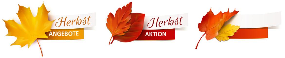 Herbstblätter mit Papier Banner - Herbst Angebote, Herbst Aktion