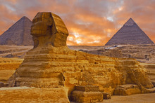 View Of The Sphinx Egypt, The Giza Plateau In The Sahara Desert