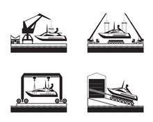 Yacht Launch On Water - Vector Illustration