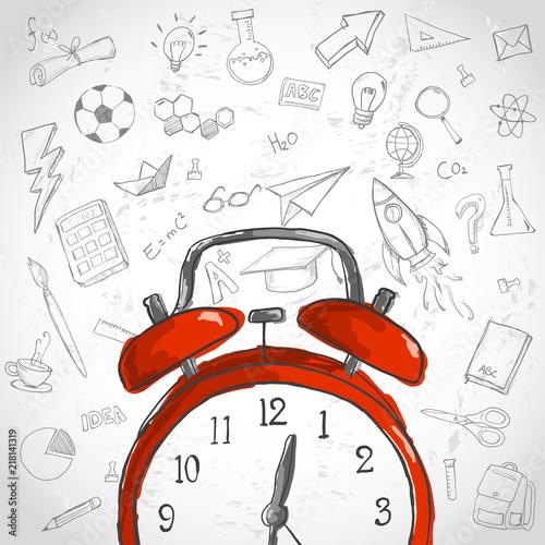 Fotobehang Pop Art Education Time Concept. Red Alarm Education Doodles Background