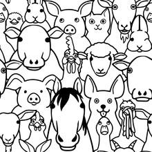 Seamless Doodle Farm Animals Faces Line Art Background