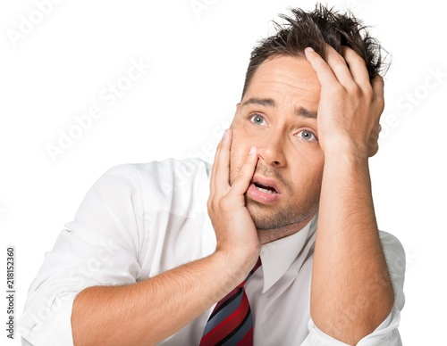 Valokuvatapetti Closeup of an Exhausted Businessman