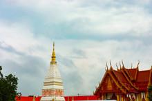The Pagoda At Wat Phra That Renu Located At Nakhon Phanom Province, Thailand