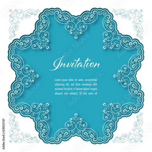 Vintage Background With Lace Border For Greeting Card Or Wedding