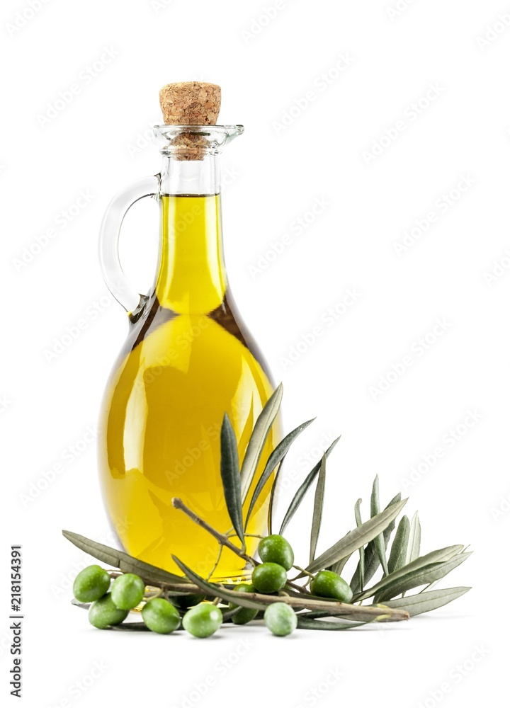 Fototapety, obrazy: Bottle of Olive Oil with Green and Black Olives