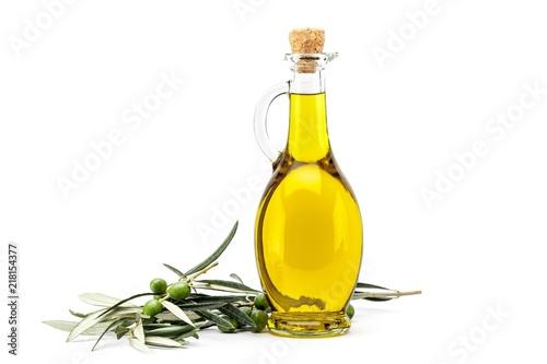 Fototapeta Bottle of Olive Oil with Green and Black Olives obraz