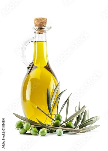Fototapeta Bottle of Olive Oil with Green and Black Olives obraz