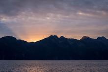 Sunset In Alaska On The Ocean