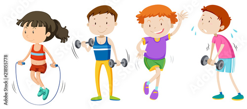 A set of children weight training Tableau sur Toile