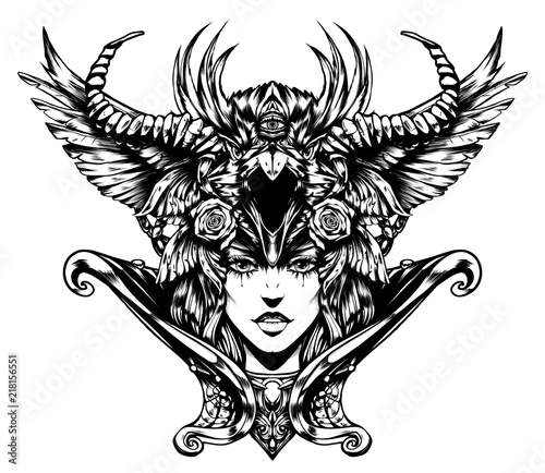 Beautiful woman with horns on her head Wallpaper Mural