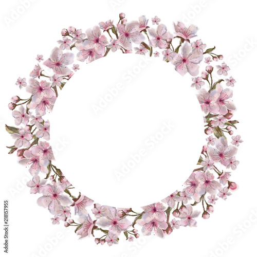 Pink Flowers Round Template Isolated On White Background Watercolor