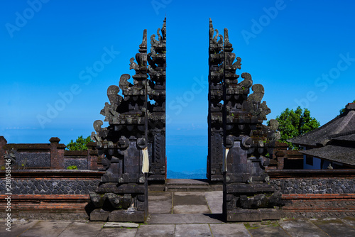 Foto op Aluminium Bali Colorful Balinese landscape with a temple. Temples in Pura Penataran Agung Besakih complex, the mother temple of Bali, Indonesia. Several balinese temples. Travel and ancient architecture background.