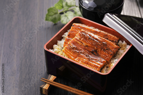 Fototapeta うな重 Unagi Grilled Eel over Rice with Japanese Sauce