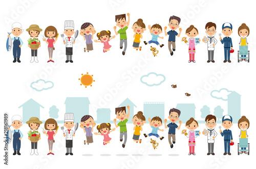 Fototapeta 家族と地域の人々 obraz