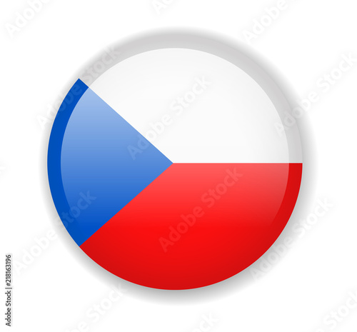 Photo  Czech Republic flag. Round bright Icon on a white background