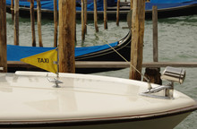 Taxi Sign On Boat. Venice, Italy