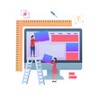 Layouting Web, Building a Web Concept. Flat Vector Illustration