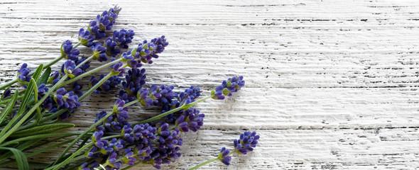 Fototapeta Lawenda Lavender on wooden background top view
