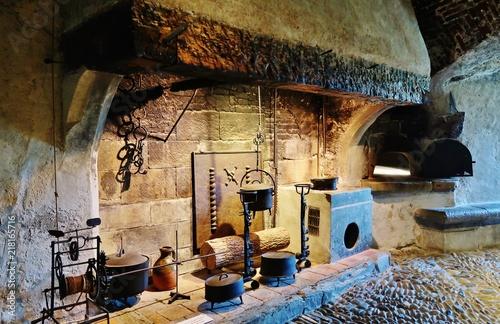 Historyczna kuchnia w zamku Gruyères