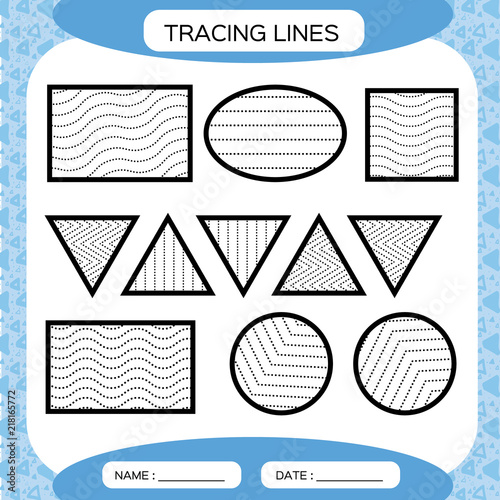Tracing Lines. Kids Education. Preschool Worksheet. Basic Writing. Kids  Doing Worksheets. Fine Motor Skills. Waves And Zigzag Lines. Blue  Background.Square, Circle. Triangle. Stock Vector Adobe Stock